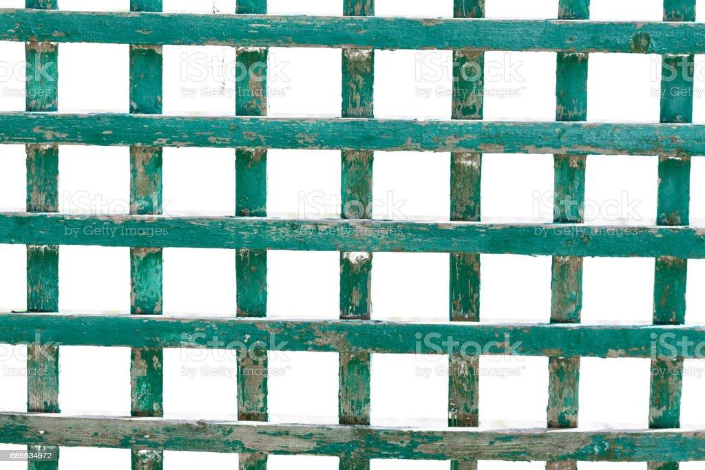 녹색 나무 격자, 격자 흰색 배경에 고립 royalty-free 스톡 사진
