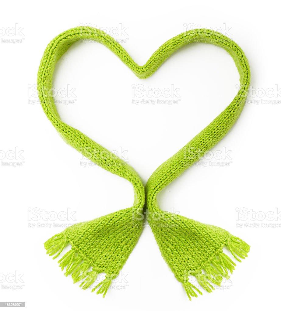 Lana verde bufanda de forma de corazón - foto de stock