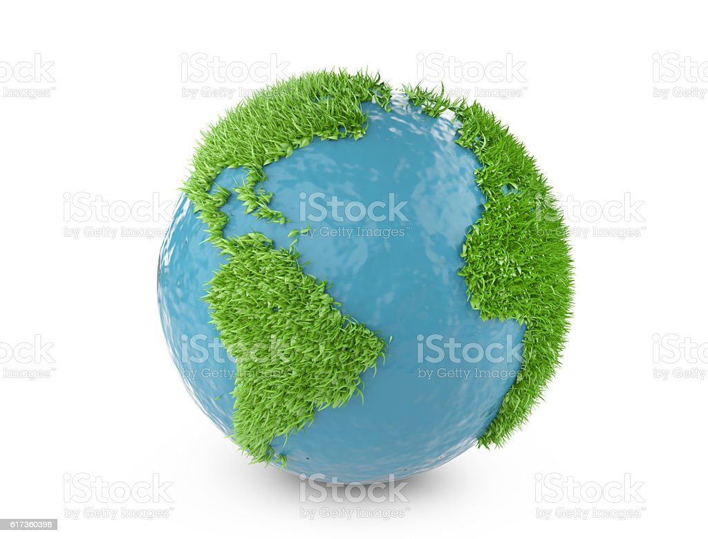 Green world concept with continents covered grass. stock photo