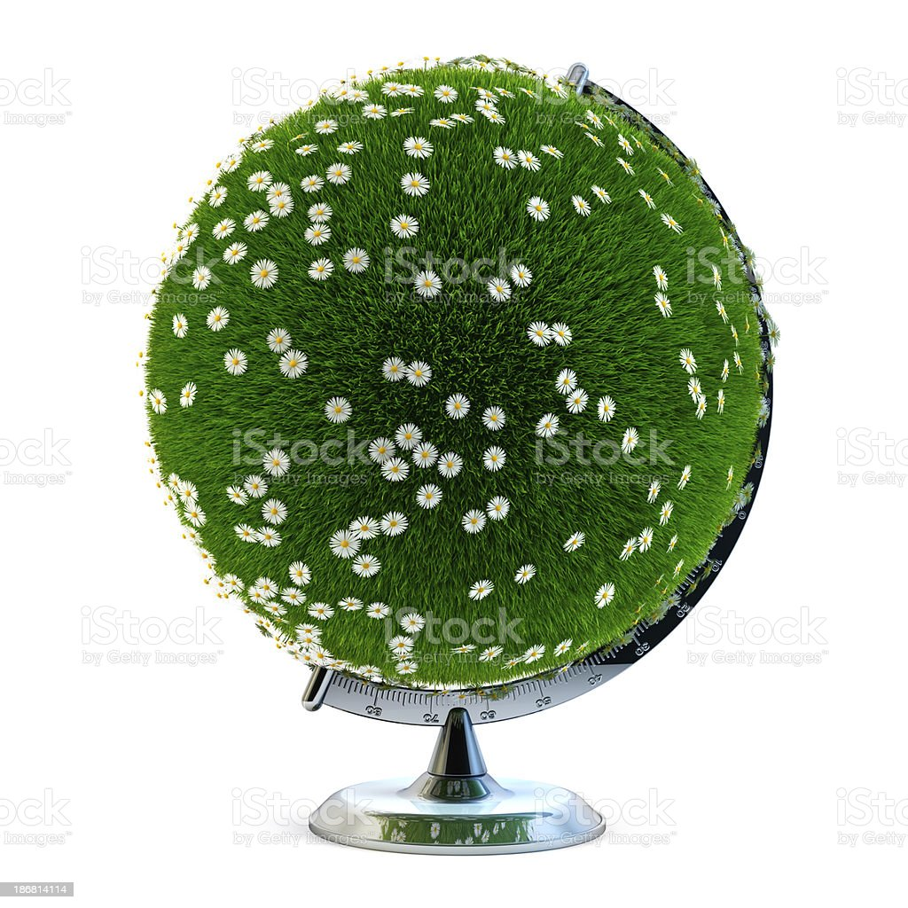 Green world. Desktop globe covered with grass and daisy flowers royalty-free stock photo