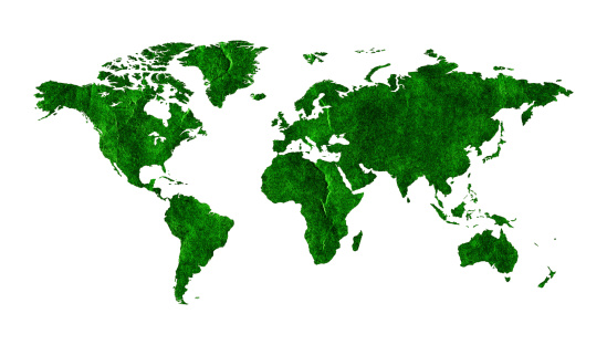 186020817 istock photo Green World map (Clipping path!) isolated on white background 464206673