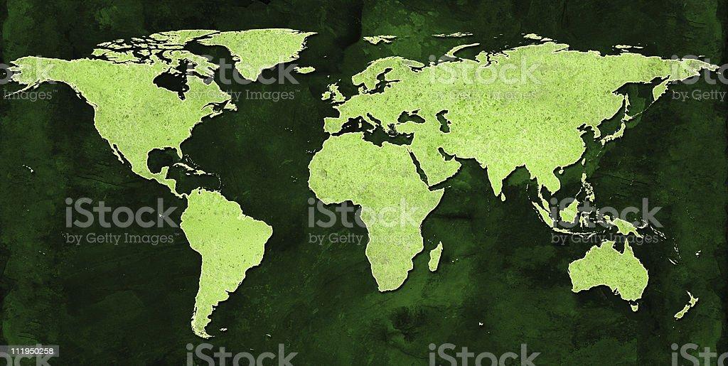 Green World Map royalty-free stock photo