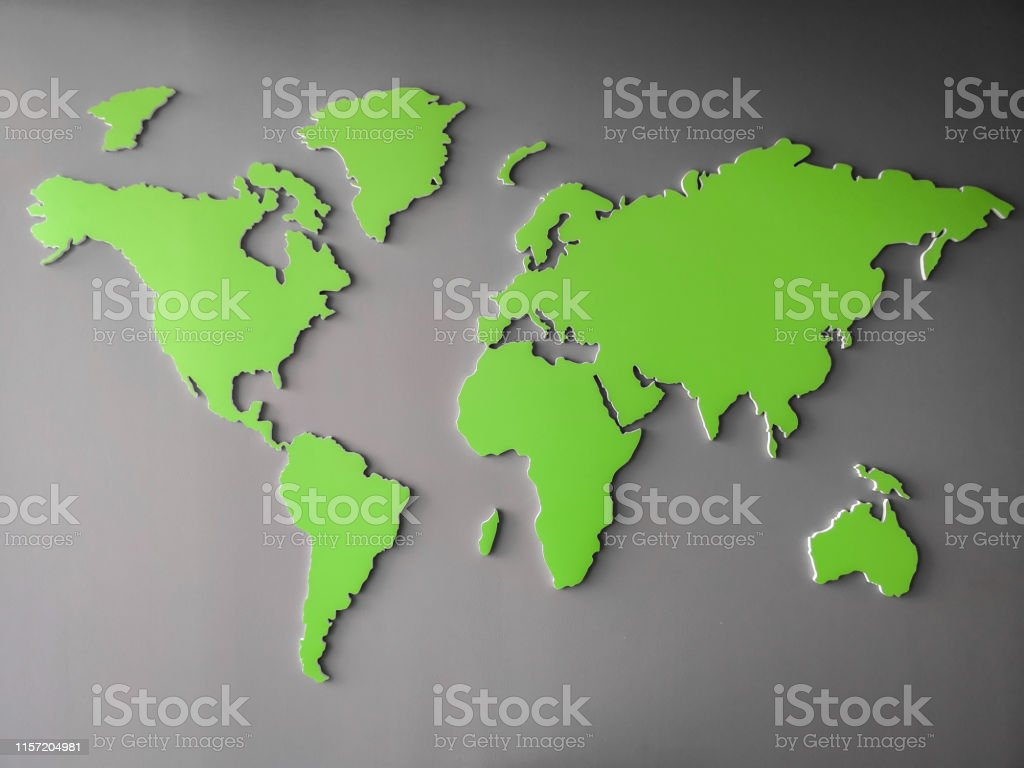 Green World map representing environmental global goals - map picture...