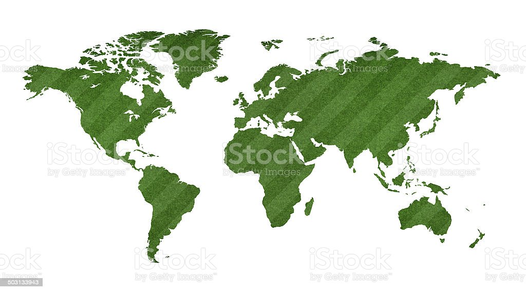 Green World map with grassland isolated on white background royalty-free stock photo