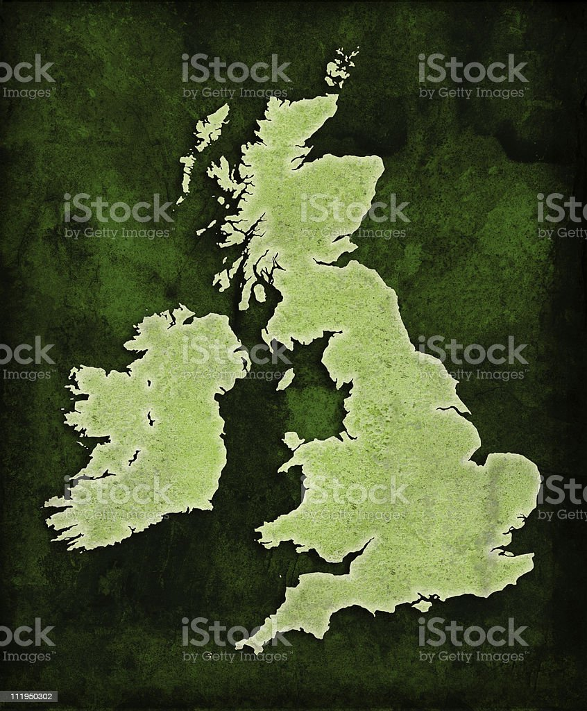 Green World UK map royalty-free stock photo