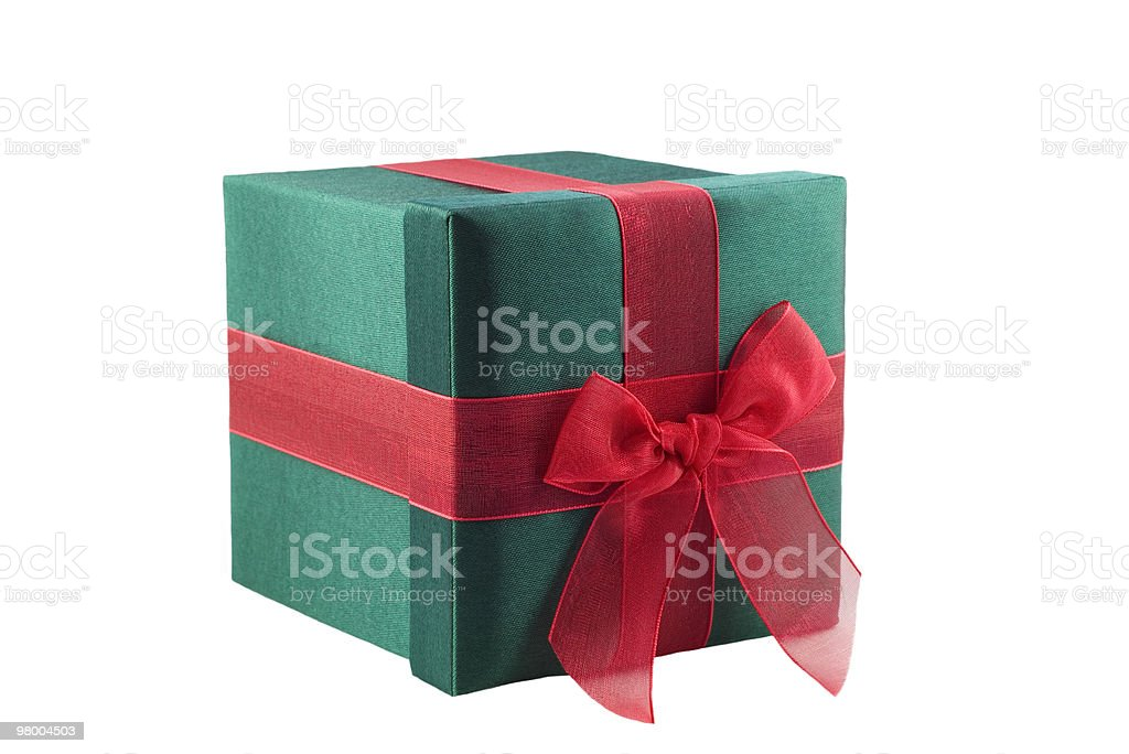 Green Wrapped Gift with Red Bow royalty-free stock photo