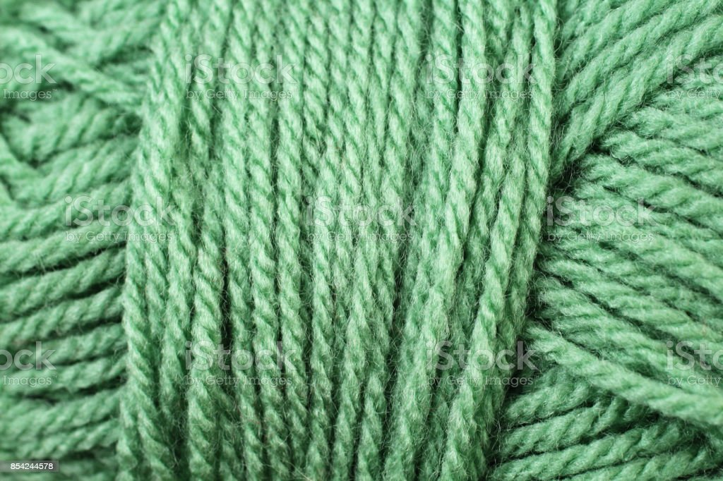 Green Yarn Texture Close Up stock photo