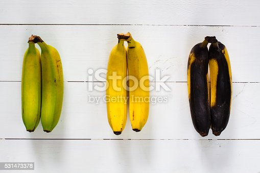 Green, yellow and black bananas arranged in a row on white wooden table.