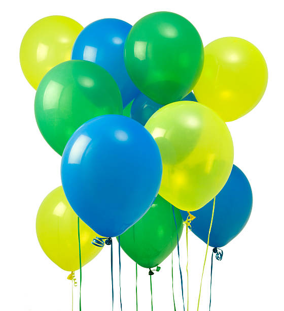 green yellow and blue balloons stock photo