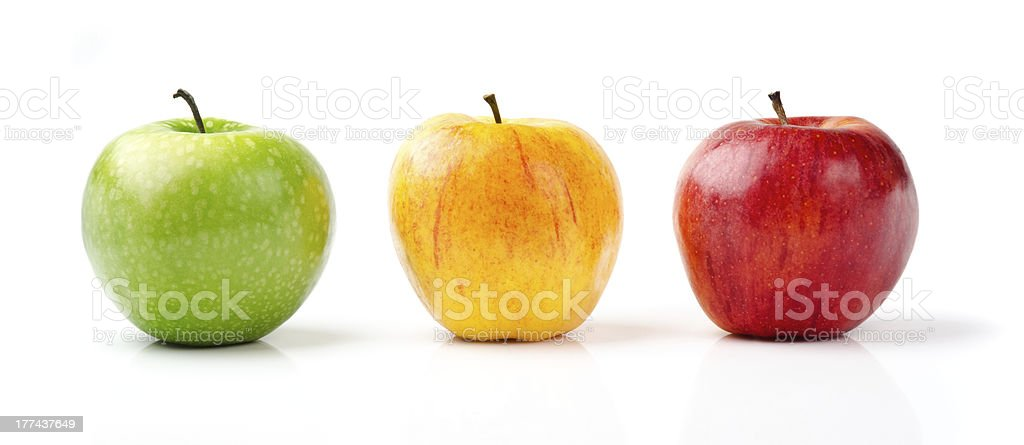 Green, Yellow and Red Apples stock photo