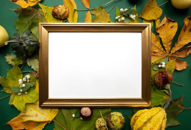Green yellow autumn harvest around gold blank frame top view background stock photo