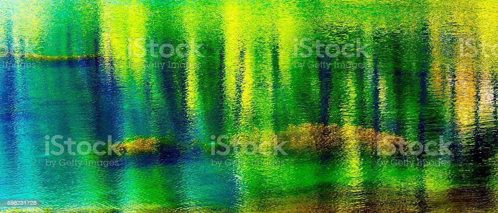 Green Yellow Blue Summer Water Reflection Abstract Wenatchee River Washington stock photo