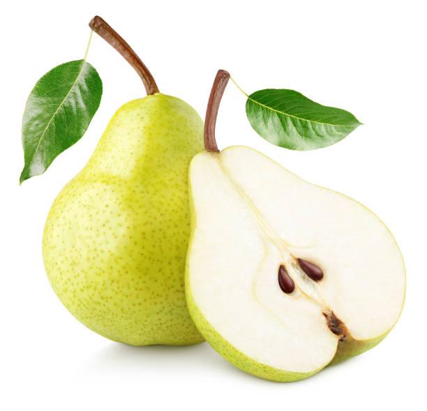 白で分離された緑の黄色い梨の果実 - ナシ ストックフォトと画像