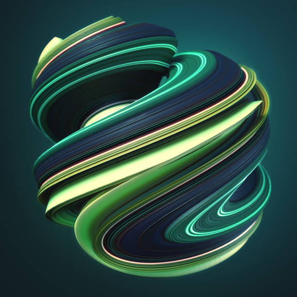 Green yellow twisted shape. Computer generated abstract geometric 3D render stock photo