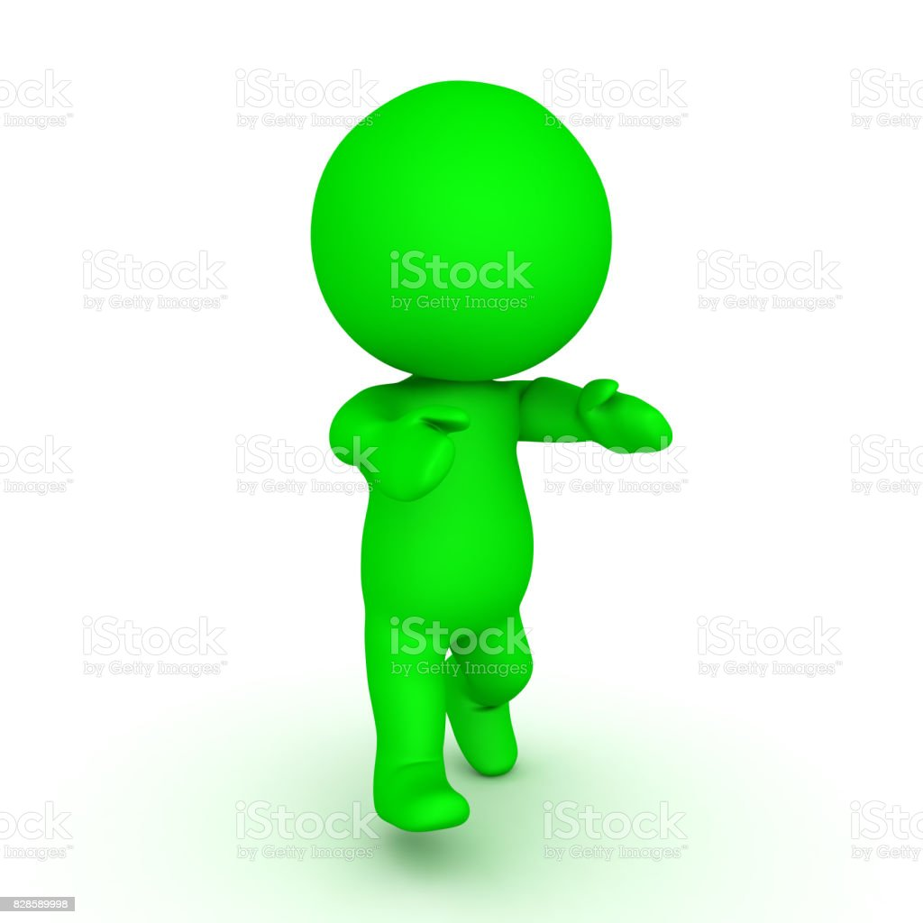 3D Green zombie walking with his arms forward stock photo