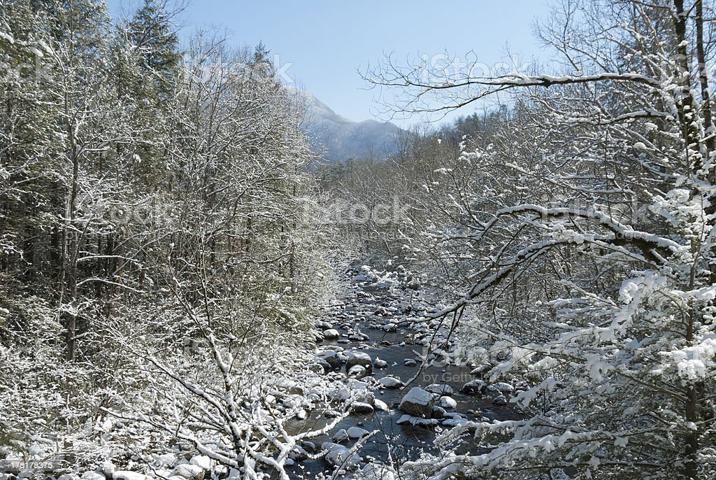 Greenbrier, River, Snow, Great Smoky Mtns NP stock photo