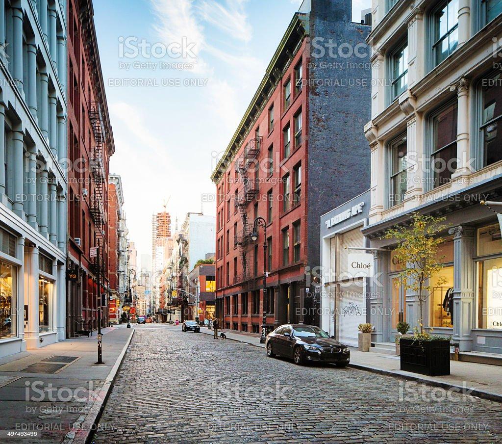 Manhattan Streets: Greene Street Soho Manhattan Early Morning Stock Photo