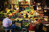 Istanbul, Turkey - August 21 2016: Greengrocer in Fish Market istiklal steet Beyoglu Istanbul