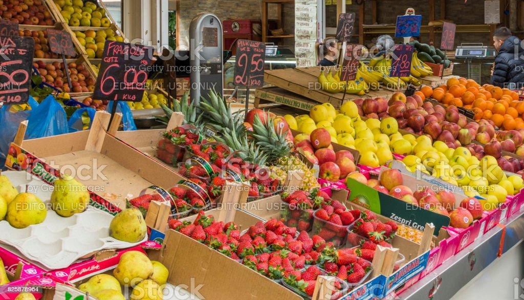 Greengrocer in the new Testaccio Neighborhood market in Rome stock photo