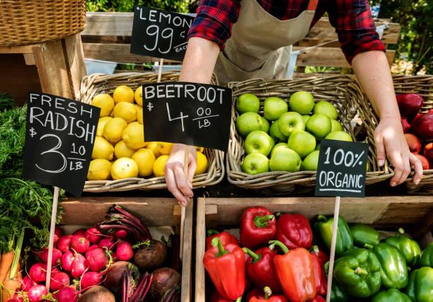 농부 시장에서 신선한 유기 농업 제품을 준비 하는 청과 - 농산물 직판장 뉴스 사진 이미지