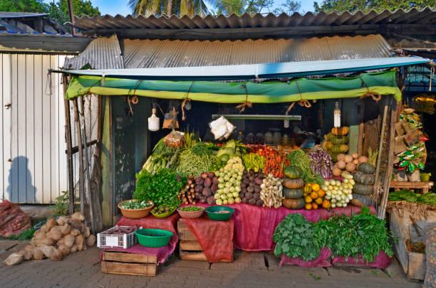 Greengrocer shop in Dambulla stock photo
