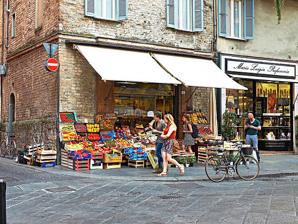 Greengrocer stall in a market zone of Parma. Italy. stock photo