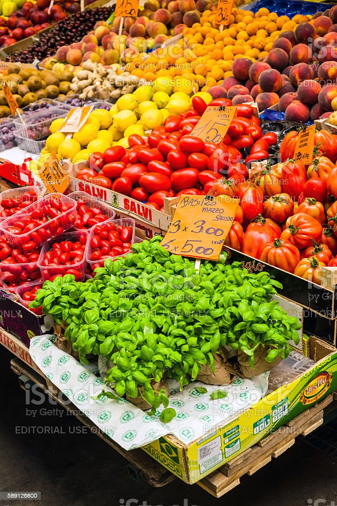 Greengrocer stall in the Mercato Orientale market of Genova. Italy. stock photo