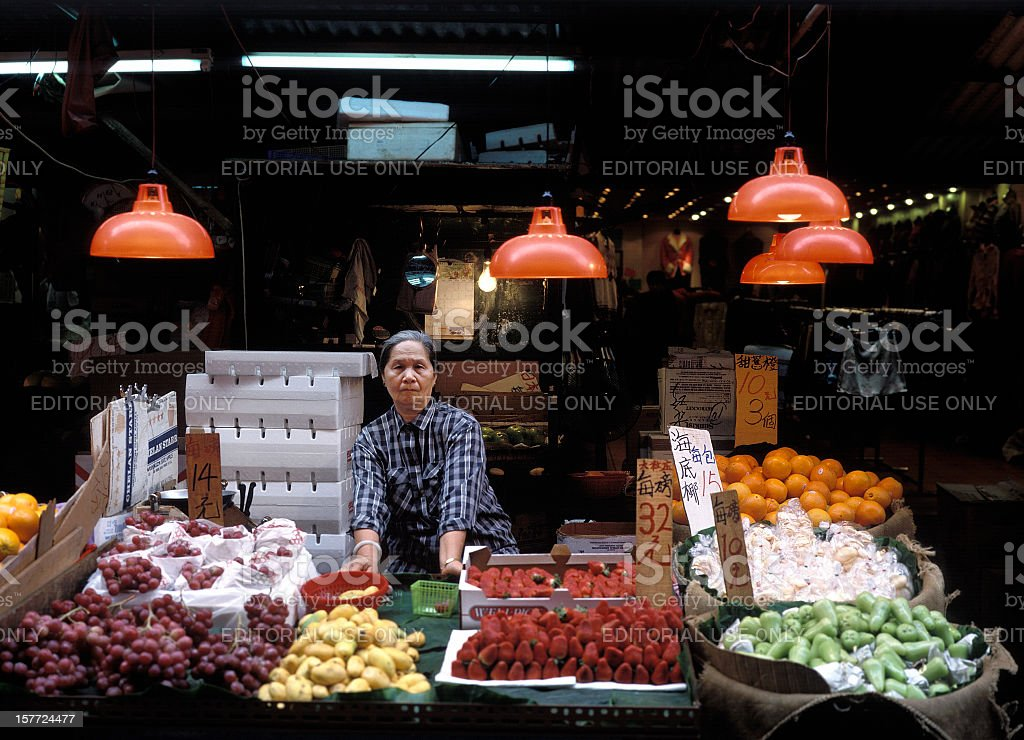 Greengrocer's shop on Temple Street market in Hong Kong stock photo