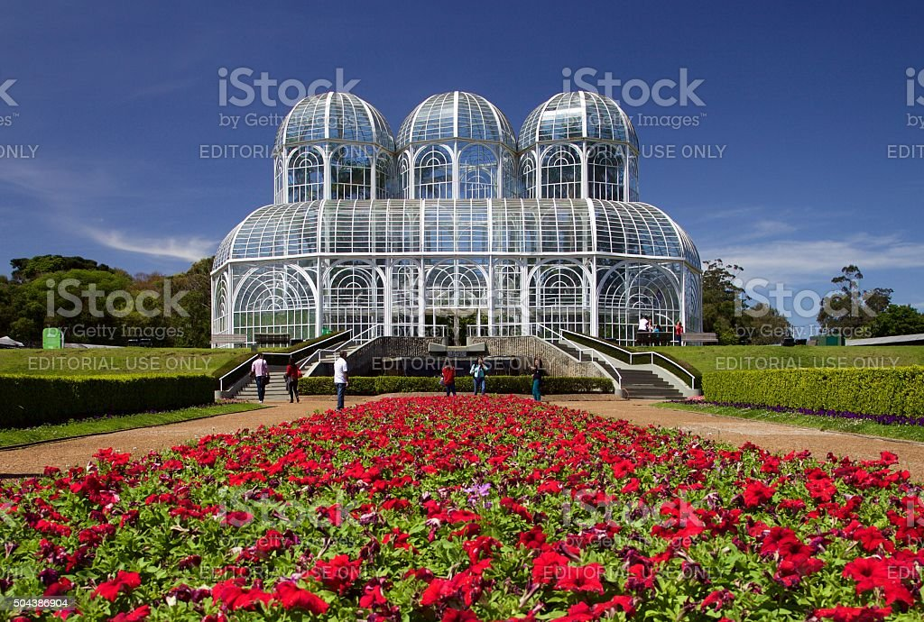 Greenhouse and flowers stock photo