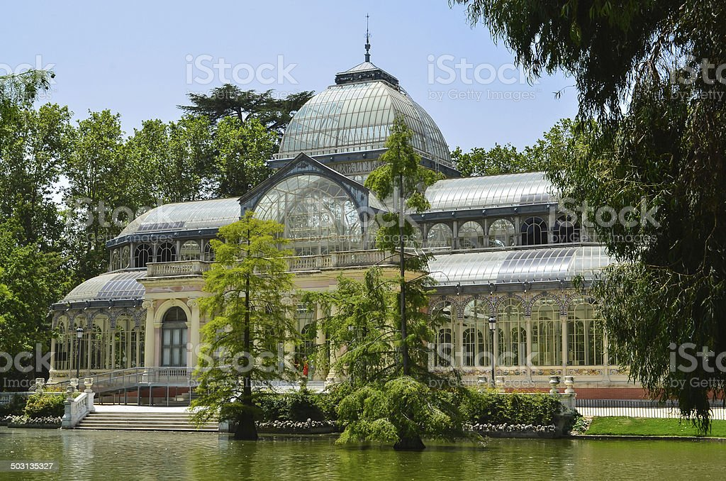 Greenhouse at Retiro Park, Madrid, Spain. stock photo