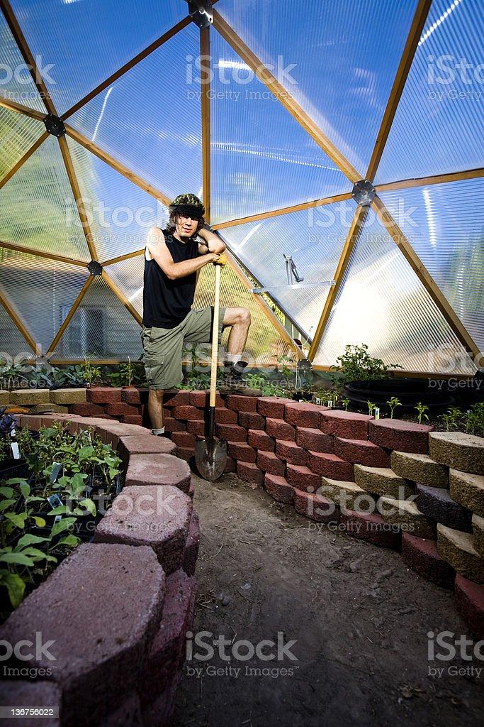 Greenhouse Gardener royalty-free stock photo