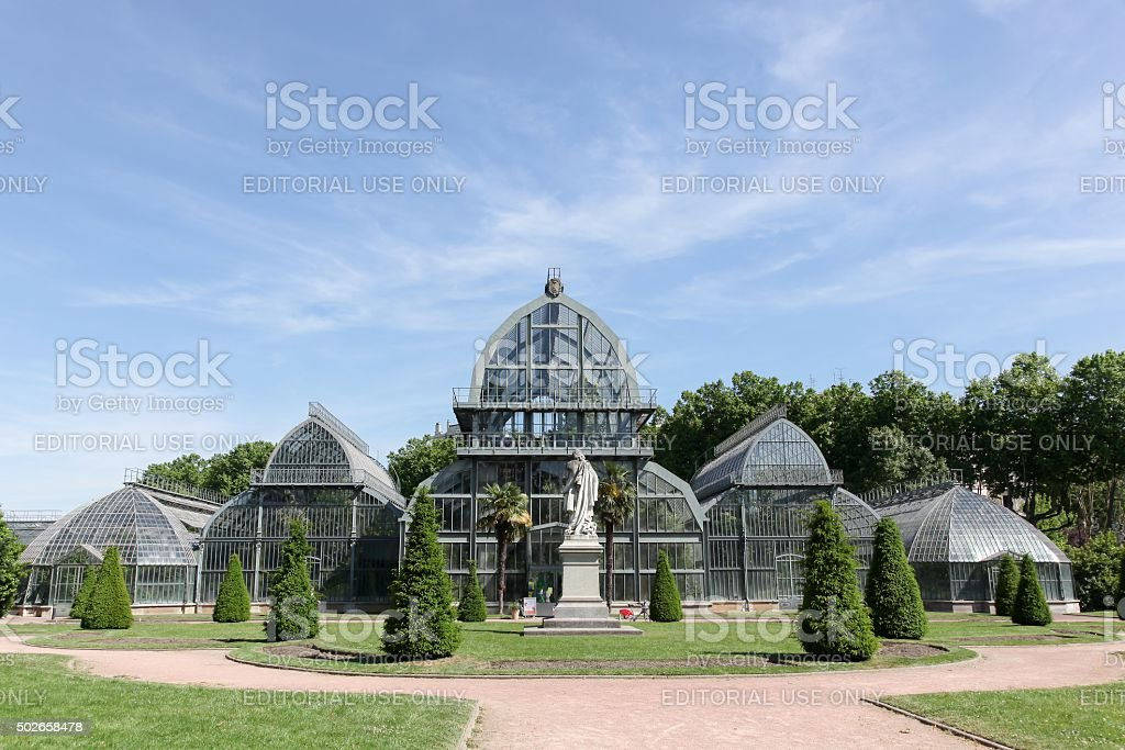 Greenhouse in park of the golden head in Lyon, France stock photo