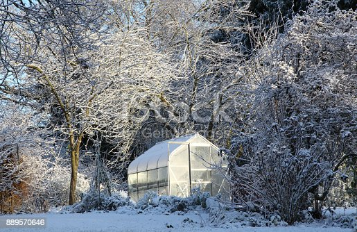 Greenhouse glowing in the sunshine surrounded by snow