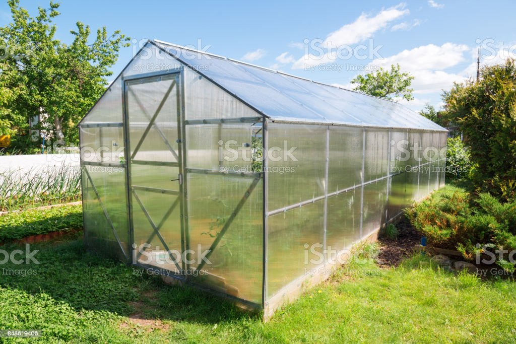 Greenhouse Made Of Polycarbonate In The Garden Stock Photo