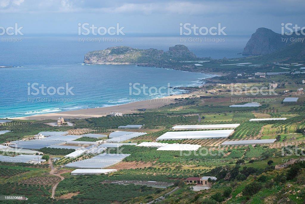 Greenhouses in Crete stock photo