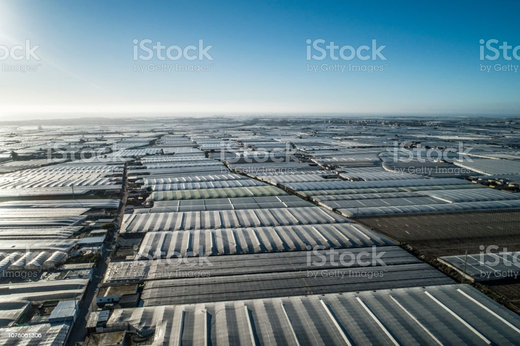 Greenhouses in Vicar near El Ejido in Almeria Spain stock photo