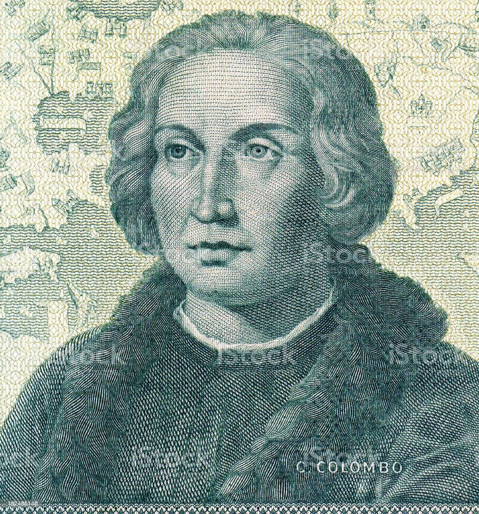A greenish-black sketch of Christopher Columbus stock photo