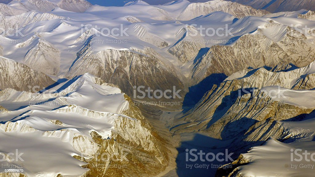 Greenland as seen from the sky, glacier stock photo