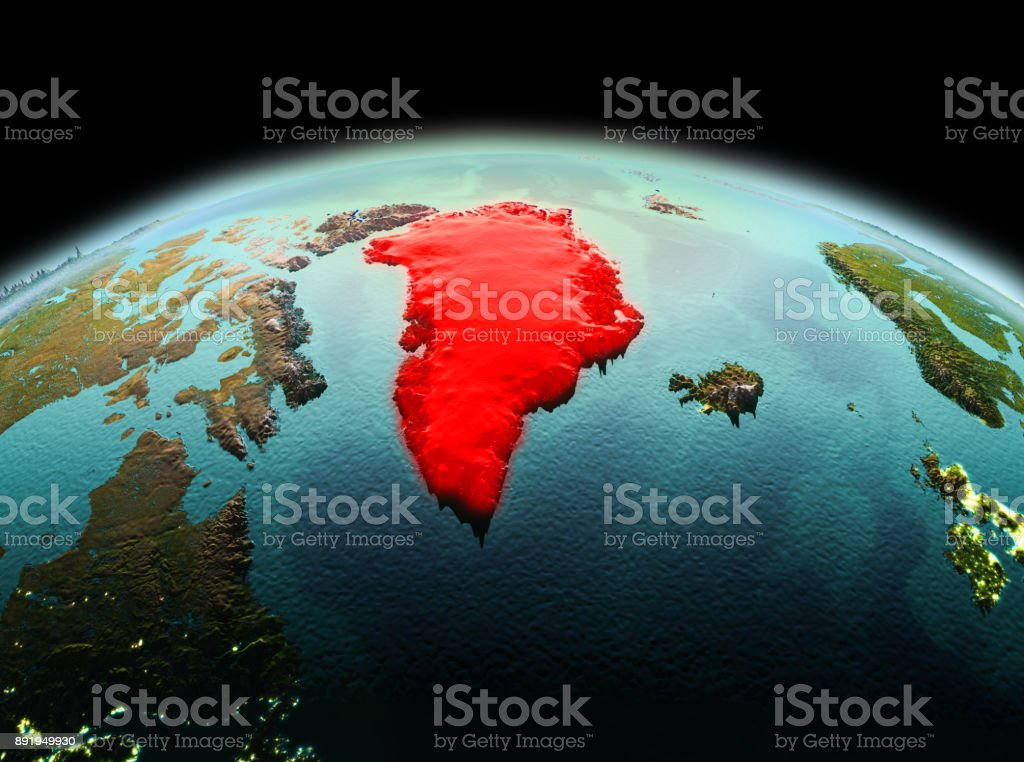Greenland on planet Earth in space - Foto stock royalty-free di America del Nord