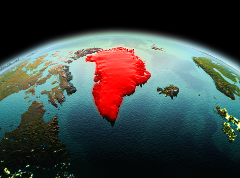 Greenland On Planet Earth In Space - Fotografie stock e altre immagini di America del Nord