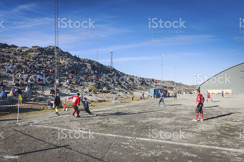 """Greenland Soccer Championship in Nuuk Godthab """"Nuuk, Greenland - August 20, 2010: Greenland Soccer Championship Semifinals between the B-67 from Nuuk against the N-48 from Ilulissat, which was won by the B-67 in the Nuuk Soccer Stadium."""" 2010 Stock Photo"""