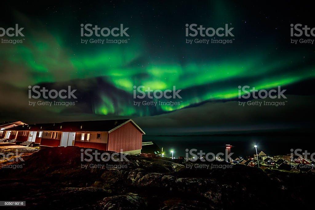 Greenlandic northern lights stock photo
