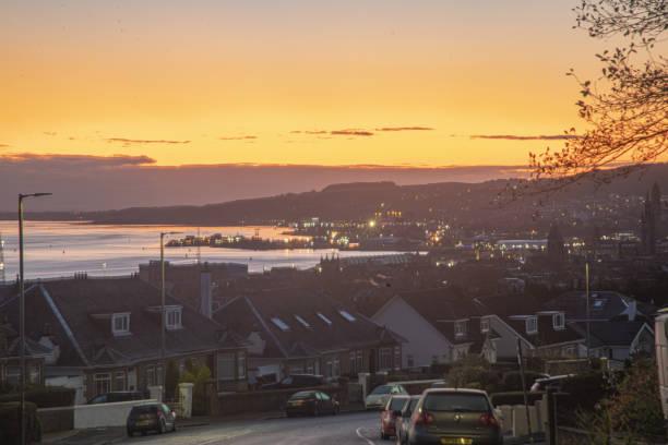 Greenock lyle road sunrise stock photo