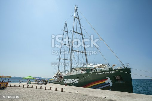 Zadar, Croatia - July 18, 2014: Greenpeace's Rainbow Warrior, an icon on the enviromental movement docked at Pier in Zadar, presentation solar and wind energy achievements. This ship is the third iteration of the environmentally conscious ship claims to harness nearly 90 percent of the its power with wind.