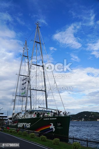 Istanbul, Turkey - September 25, 2016: Greenpeace's Rainbow Warrior, an icon on the environmental movement docked at Kurucesme, Istanbul Bosphorus, supporting a big solar energy campaign in Turkey.