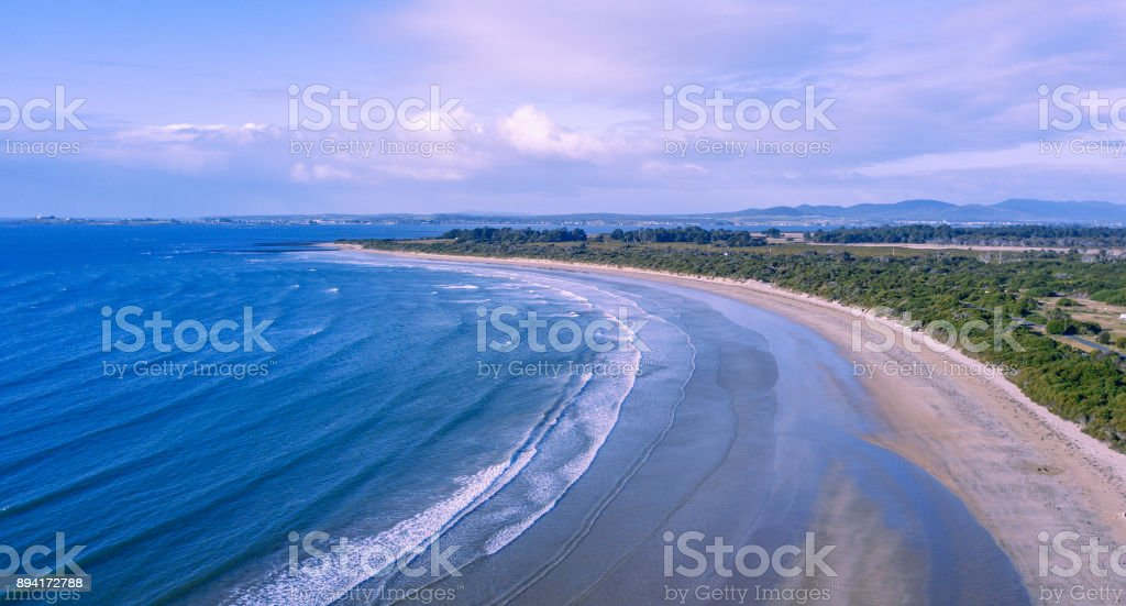 Greens beach from above, located near Launceston, Tasmania stock photo