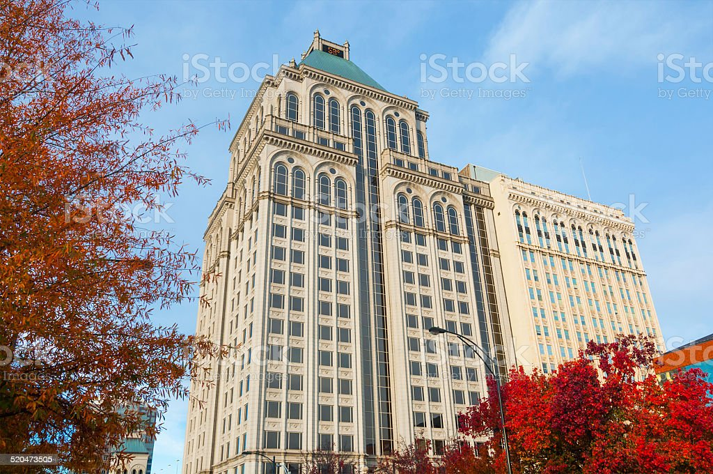 Greensboro downtown buildings and architecture during Fall stock photo