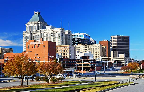 Greensboro skyline at Autumn stock photo