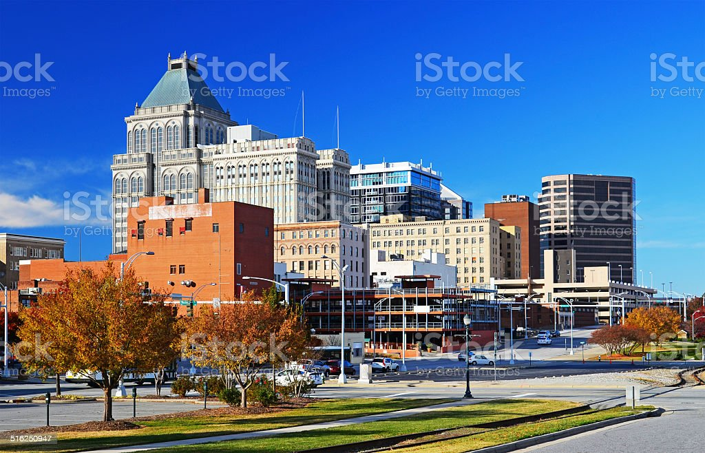 Greensboro skyline at Autumn stock photo