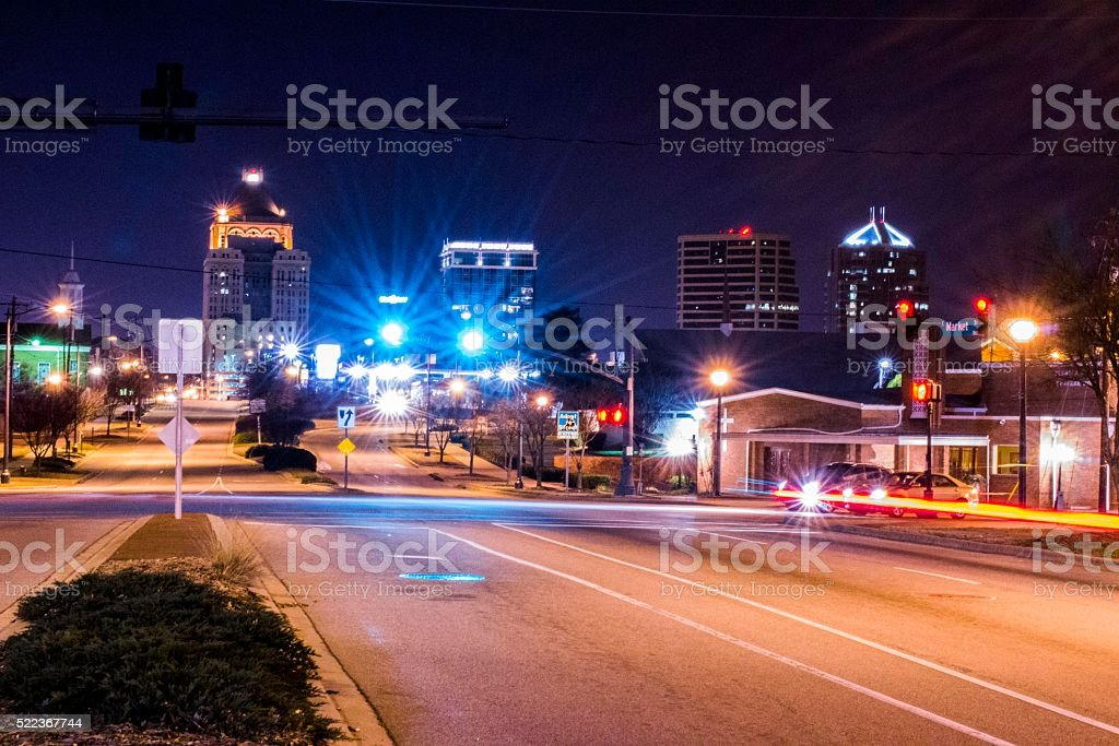 Greensboro_Night stock photo